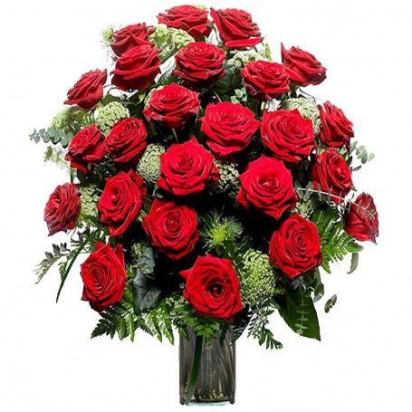 Florero con 24 Rosas Rojas