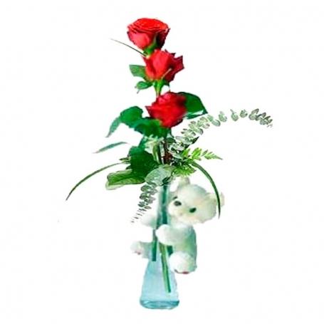 Florero con 3 Rosas + Peluche