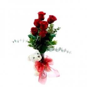 Florero con 6 rosas + Peluche