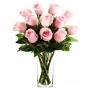 Florero con 12 Rosas Rosa