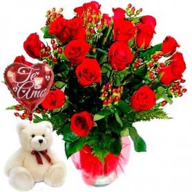 Florero con 24 Rosas Rojas con Globo y Peluche