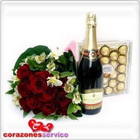 Ramo de 12 Rosas + Bombones + Champagne