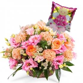 Canastillo de Nacimiento Arreglo de Flores para Niña