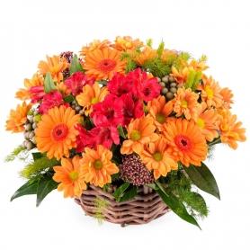 Canastillo de Flores Mix Tonos Naranjos