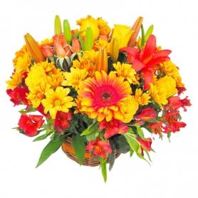 Canastillo de Flores Tonos Naranja