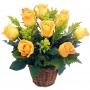 Canastillo con Rosas Amarillas 12 rosas