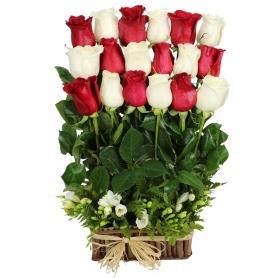 Canastillo con 18 Rosas Rojas y Blancas Alineadas
