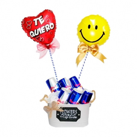 Cubeta con 6 Energéticas Red Bull y 2 Globos
