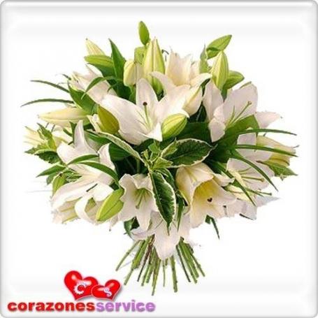Ramo de Flores Lilium Tonos Blancos