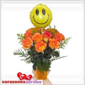 Florero 12 Rosas Circus y Globo a elección