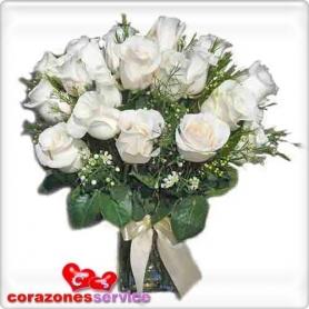 Condolencias en Florero 12 Rosas Blancas