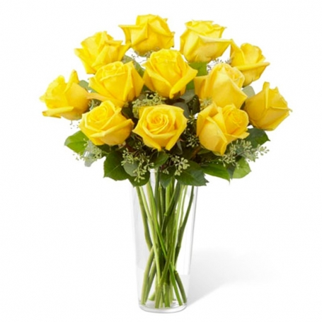 Florero con 12 Rosas Amarillas