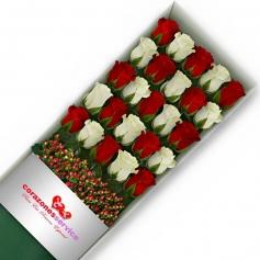 Cajas de Rosas Blancas y Rojas